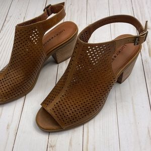 Lucky Brand BERTEL Leather Heeled Sandals 9.5/39.5